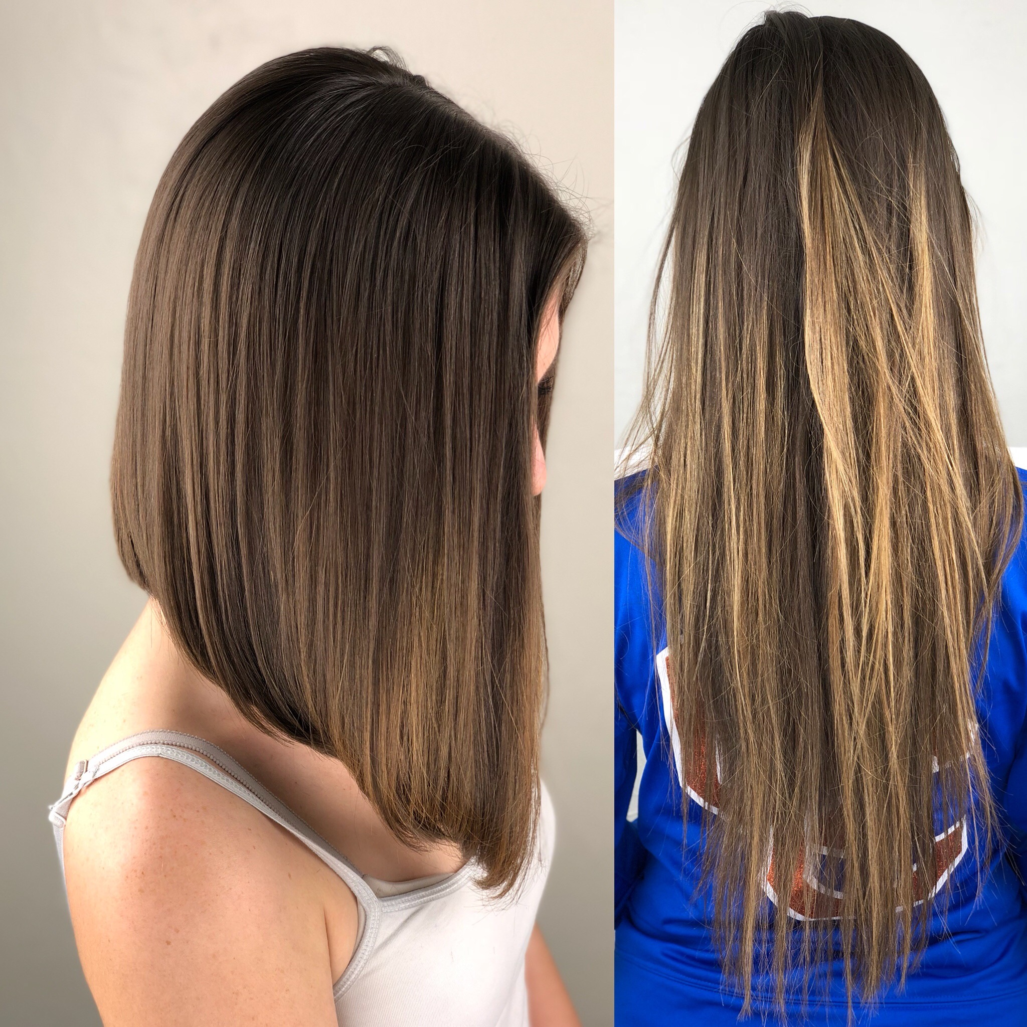 Long bob before and after